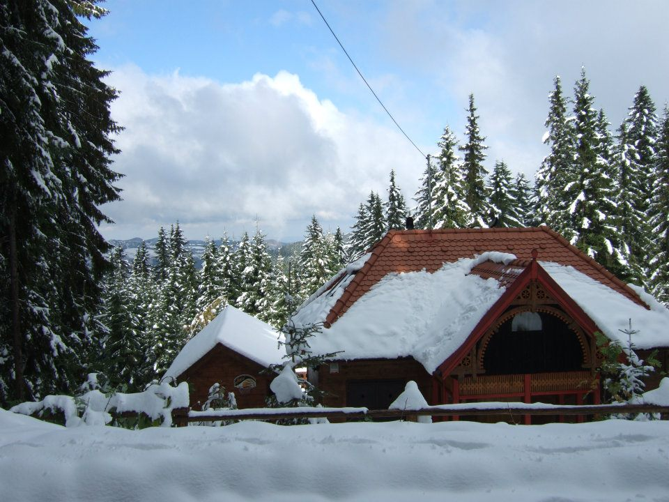 Snowy mountains and hut above Sibiu
