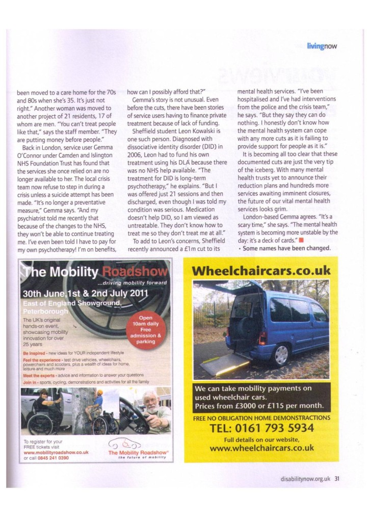 Disability Now   May 2011