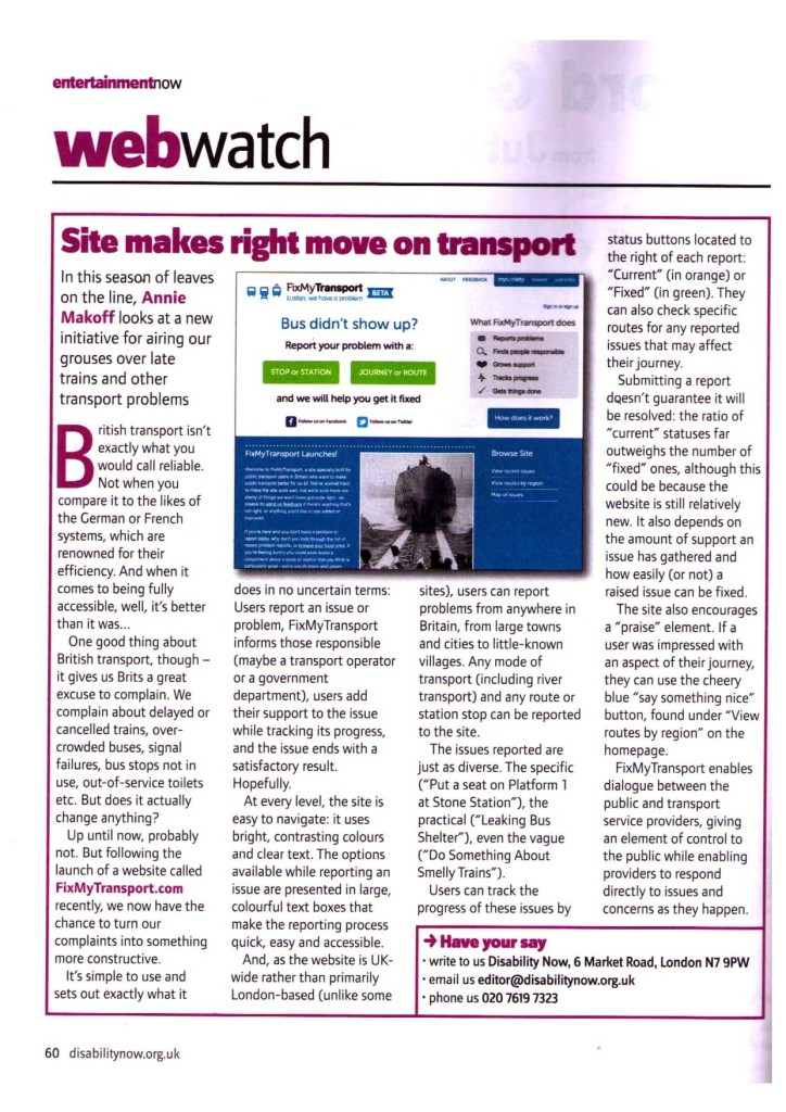 Disability Now  October 2011