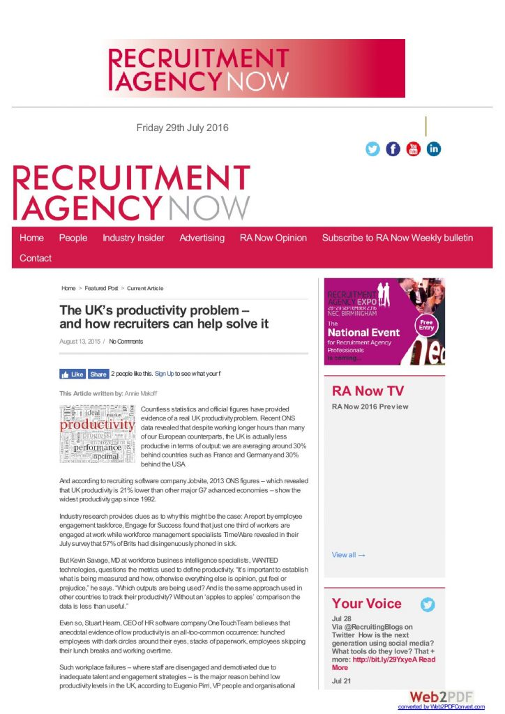 Recruitment Agency Now   August 2015